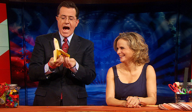 Amy Sedaris and Stephen Colbert on The Colbert Report